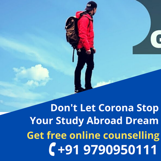 Don't let Corona stop your study abroad dream! Get FREE Online Counselling at +91-9790950111 or +91-7603800800 or via email to contact@broadmindgroup.com