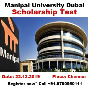 Want to study in Dubai? Then attend Manipal University Dubai campus Scholarship Test and get 50% scholarship for February 2020 intake. You can register over phone at +91-9790950111 or email to contact@broadmindgroup.com