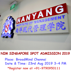 Want to study in Singapore? Then, contact BroadMind consultant at +91-9790950111 or +91-7603800800 to register for the NIM Singapore spot admission
